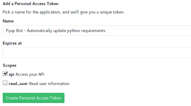 Gitlab create access token picture