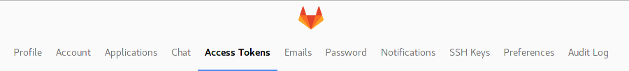 Gitlab access tokens tab picture
