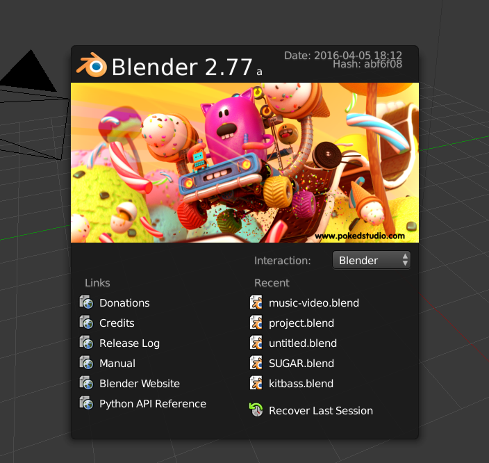 Blender splash screen